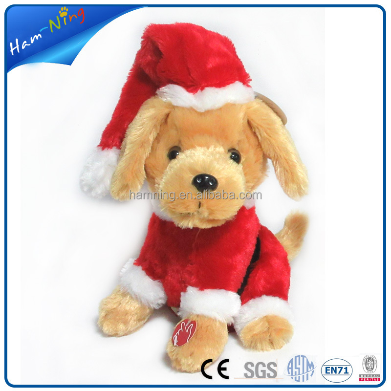 22cm stuffed xmas toys plush electric singing dogs and puppies for sale