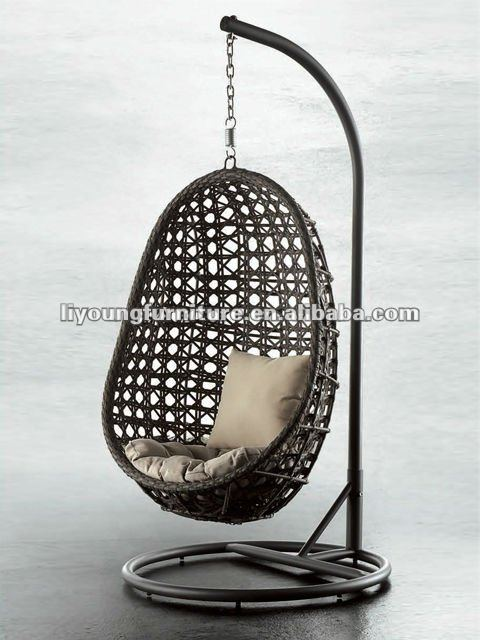 one seater rattan wicker woven aluminum frame hanging swing chair outdoor furniture