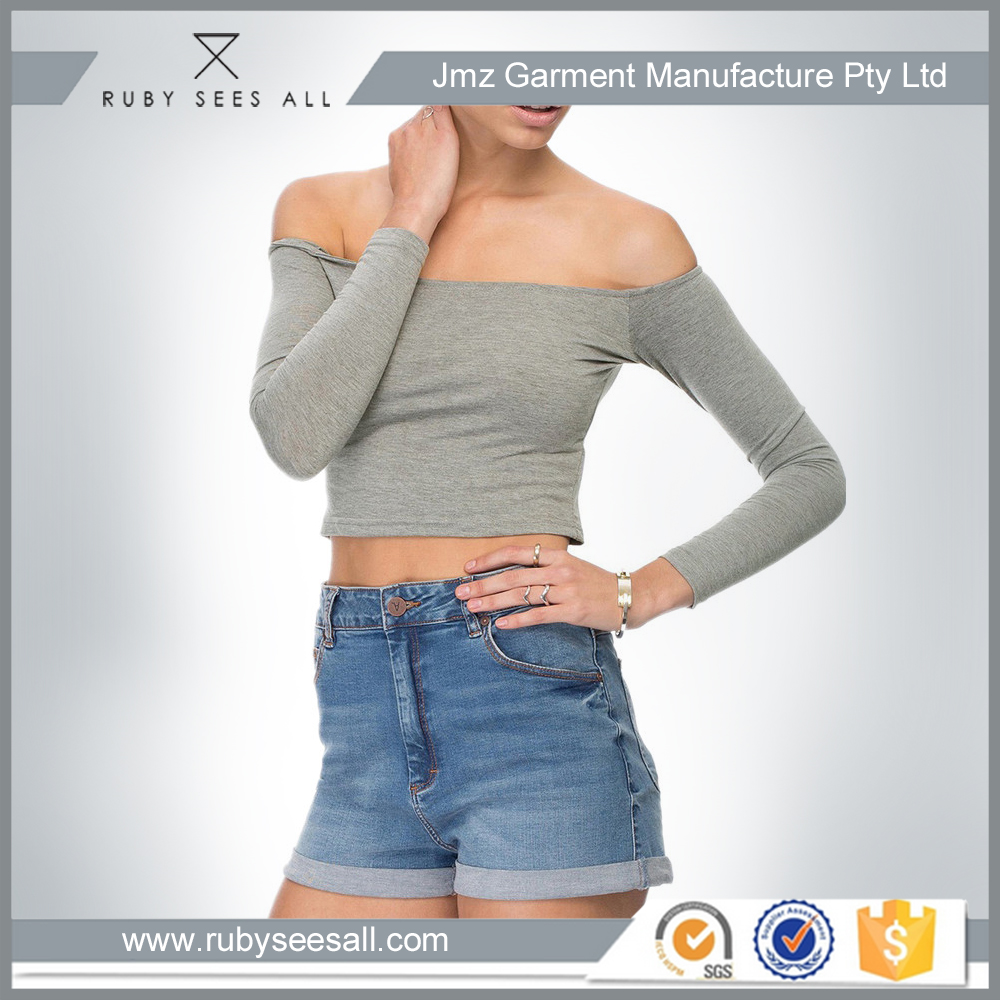 design your own brand Gray one shoulder blouse Sexy off shoulder fitted plain t shirt for lady casual blouse and shirt
