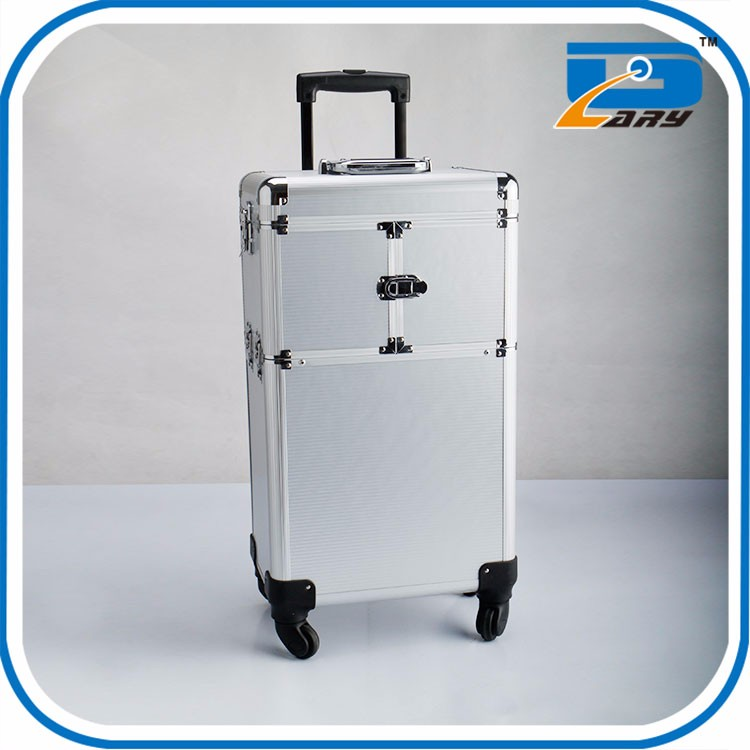 Stand Trolley Rolling Makeup Case Cosmetic With Lighted Mirror
