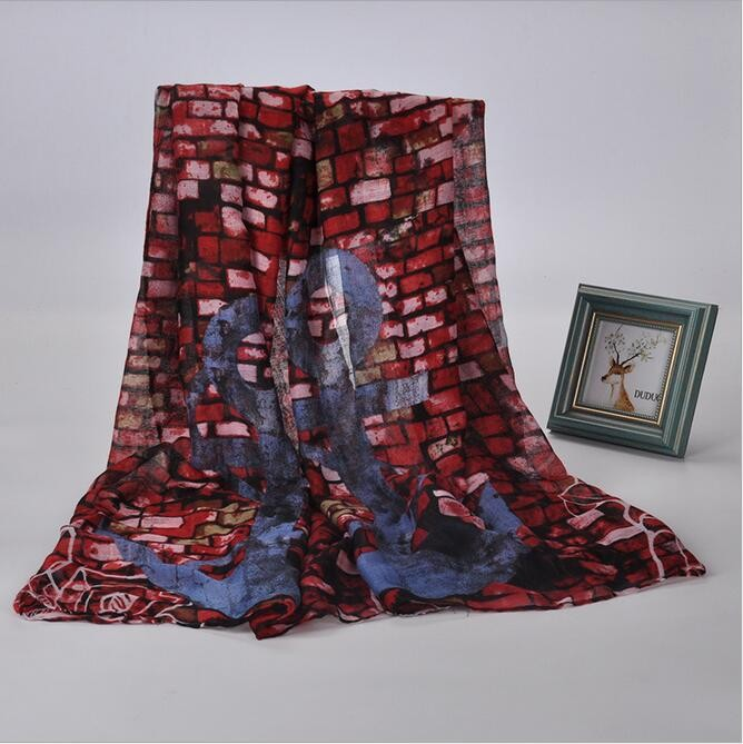 Cheap fashionable silk muslim hijab voile scarf stone wall print polyester spring lady scarf