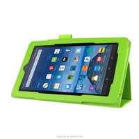 2016 Manufacturer Wholesale Three Folding Slim PU Leather Shockproof Tablet Case for Amazon Kindle Fire 7 - Green