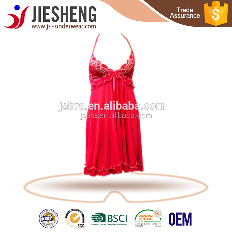 sexy wome nightdress red hot hot image transparent night dress (Accept OEM)