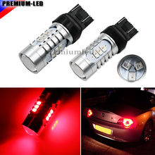 Brilliant Red Strobe Flashing 12-SMD-5730 W21/5W 7443 7444 T20 SRCK LED Replacement Bulbs For Car Brake Tail Lights