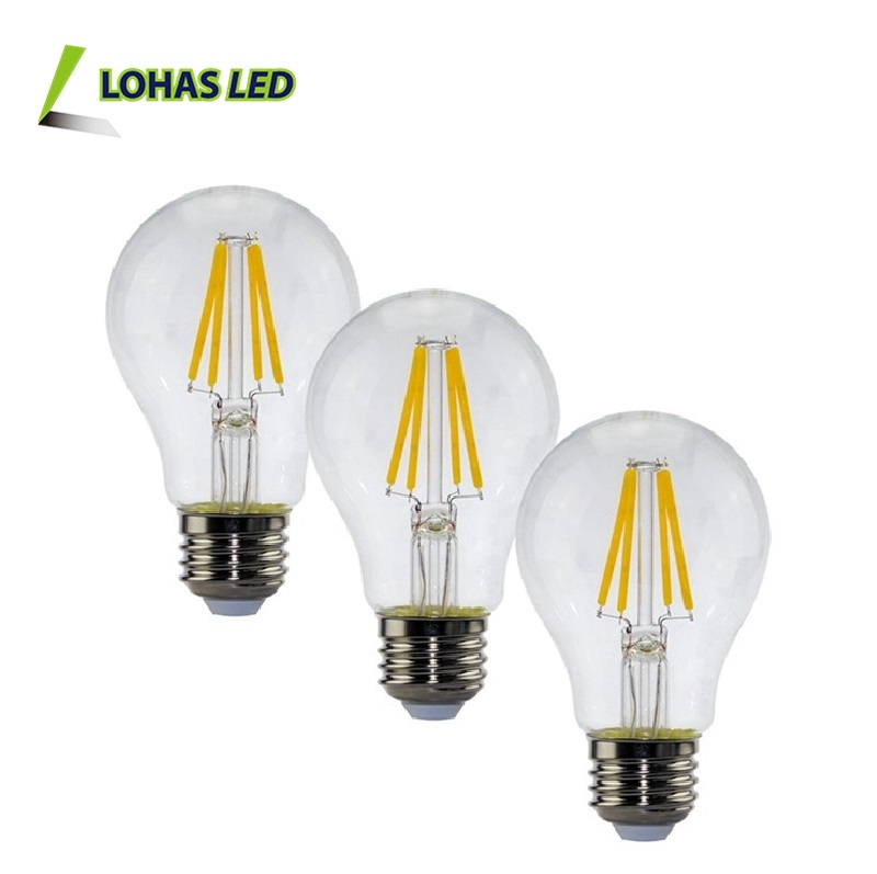 LOHAS Dimmable 3000K 6000K Vintage Edison LED Lights Bulb E12 E14 2w 4w 6w 8w Led Filament Bulb A60 E27 Led Globe Filament Bulb