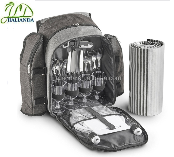 top qualiity4person insulated camping picnic bag,cooler backpack with blanket set JLD-T41056
