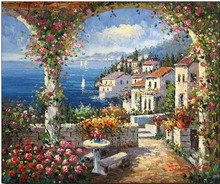 Tropical Sea View Residence mediterranean oil painting for wall decoration