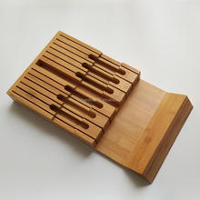 High Quality In Drawer Bamboo Wooden Knife Block Holds 12 Knives Storage Organizer