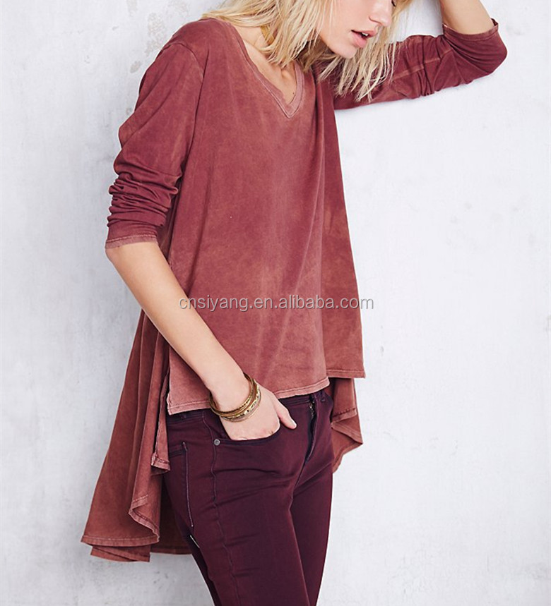 Autumn garment wash women loose fitting soft blouse- SYK15199