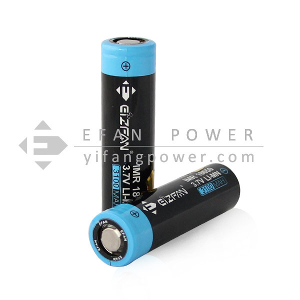 Efan High drain IMR LiMn 18650 3.7v 3100mah 40A battery with flat top