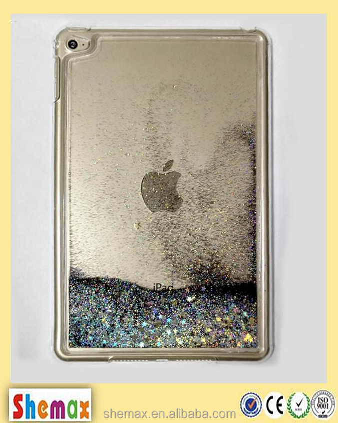 Newest Fashional Dynamic Glitter Stars Liquid PC back cover case for Apple iPad mini 4