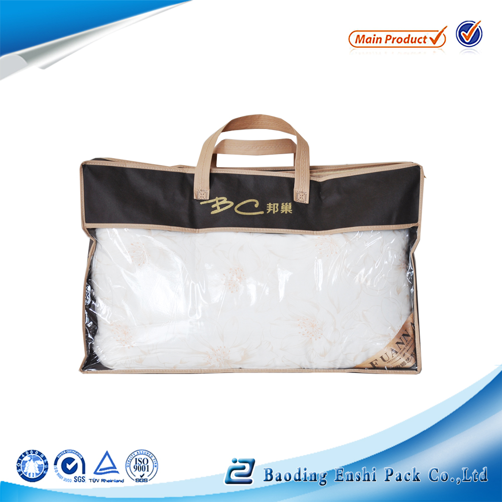 Non-woven material pvc bending clear bedding blanket tote bag