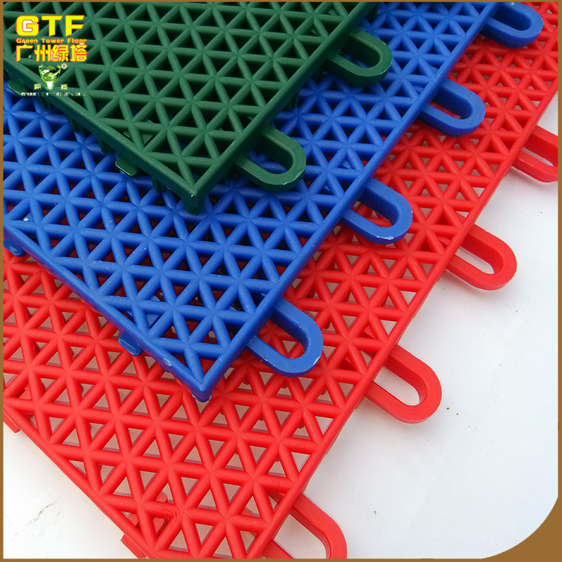 Outdoor interlocking plastic basketball court flooring/ PP suspension floor for sports court