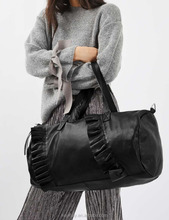 Fashion detachable shoulder PU leather ruffle travel weekend duffle bag