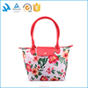 Promotional flower printed leather tote bag for travel use