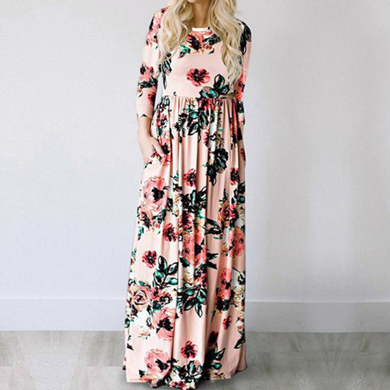 19 Summer Long Dress Floral Print Boho Beach Dress Tunic Maxi Dress Women Evening Party Dress Sundress Vestidos de festa XXXL 16