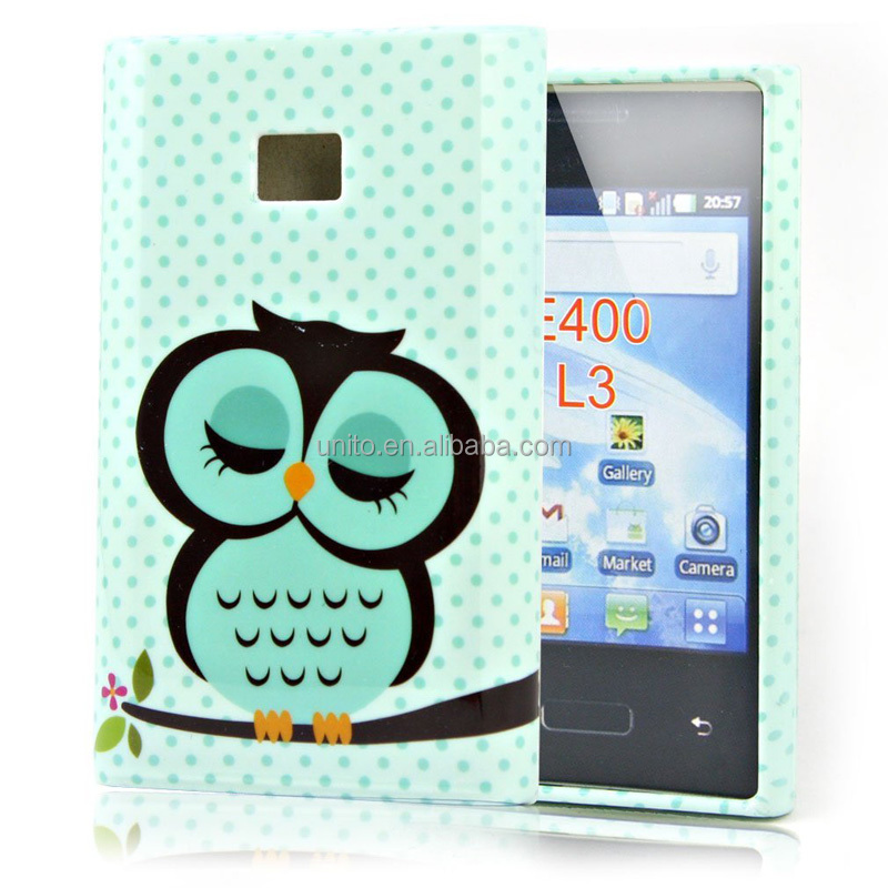 Cute Owl TPU Gel Skin Case Cover for LG Optimus L3 E400