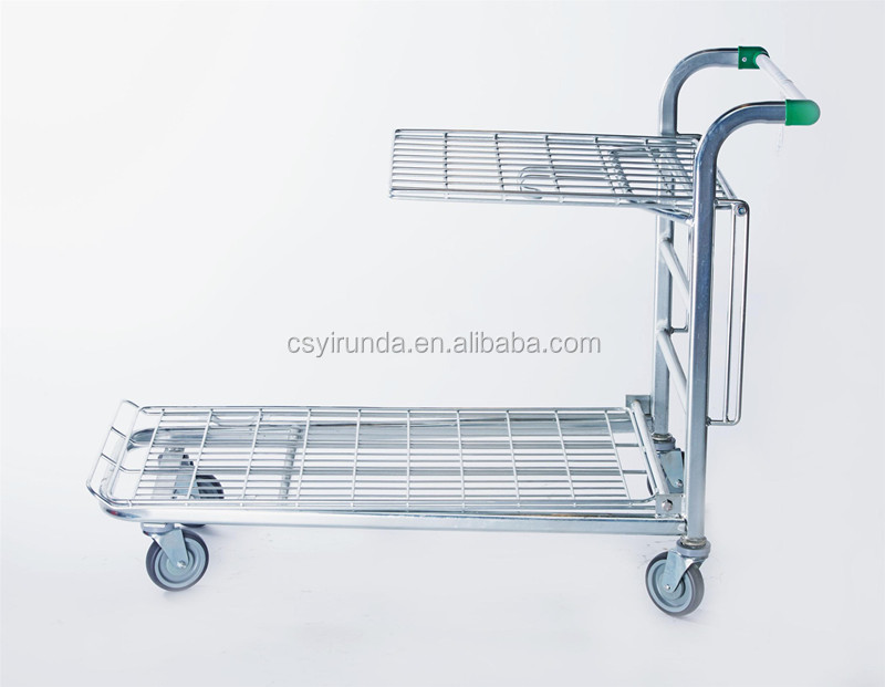 300kgs powder coating zinc plated supermarket shopping Trolley for warehouse