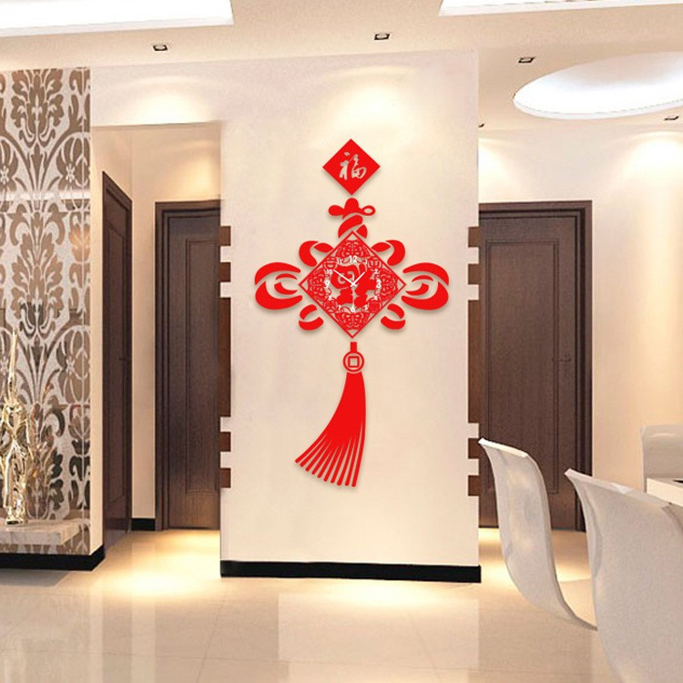 home decorative nice engraved red chinese knot shaped large retro acrylic clock for <strong>wall</strong>