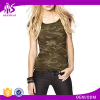 Shandao 15%Cotton 85%Polyester heat transfer printing sleeveless scoop neck camo skin tight women's short sleeve t shirt