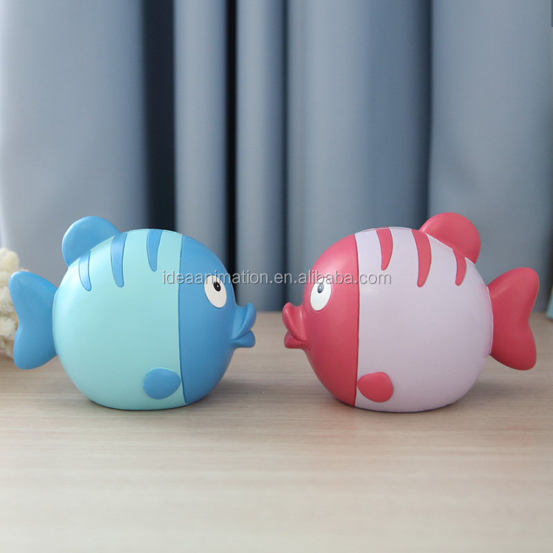 OEM fish custom money box cute plastic coin bank for home decor
