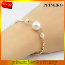 PRIMERO Anti Allergy Pearl Beads Charm Bracelets & Bangles 22K Rose Gold Plated titanium steel Wedding Jewelry For Women