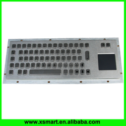 Waterproof Industrial kiosk metal keyboard with integrated touch pad