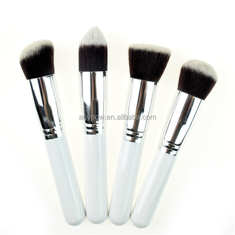 Cosmetic tools synthetic fiber white wooden Handle Silver Ferrule 4pcs Makeup Brush set