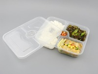 Four Compartment Disposable PP Plastic Takeaway Food Container with Lid