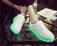 8 Colors High Quality 2015 New Fashion Led Shoes Casual Women & Men Shoes, Led Luminous USB Charging Lights shoes Size 35-46