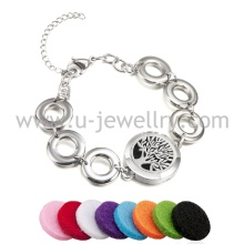 Fashion Jewelry Stainless Steel Mens Chain Bracelet Aromatherapy Diffuser Locket With Felt Pads