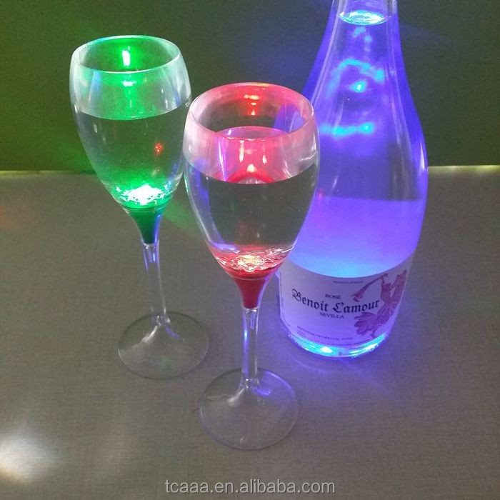 Hot sales liquid activated colorful led champagne glass
