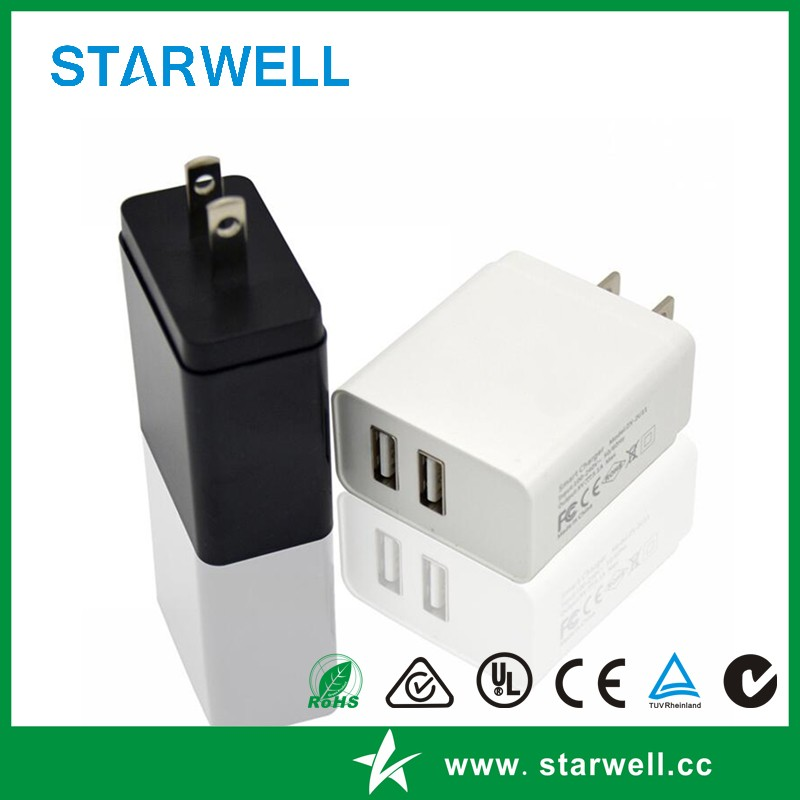 Dual port usb charger 5V 1A 5V2A UK, US ,AU ,EU available