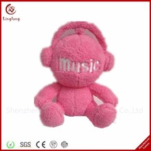 Novelty plush pink music player action figures toys soft stuffed cartoon action figures dolls