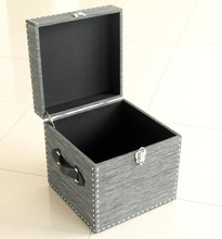 Set 2 Modern Square Storage Trunk with Handles Nails Decoration