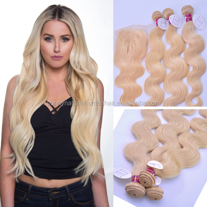 virgin hair bundles with lace closure blonde color 613 brazilian hair closure with raw human hair extension body wave