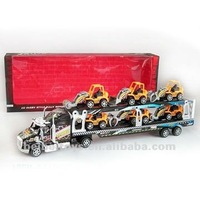 Children Plastic Friction Car Carrying Trailer Toys with 6 Trucks, Friction Power Toy Cars