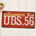 Custom retro printing 3d aluminum car number metal license plate