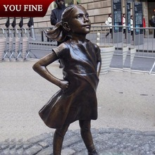 Famous Bronze Wall Street The Fearless Girl Statue