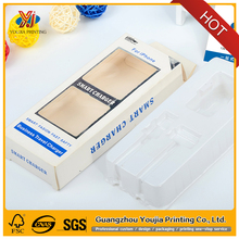 paper box with plastic inner tray packaging for smart charger and data cables