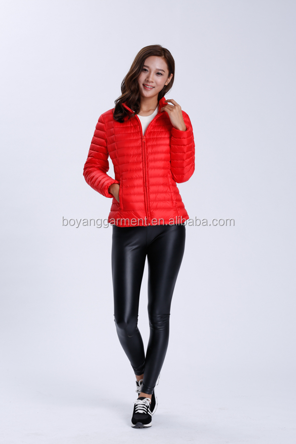 wholesale women long sleeve red color white down coat