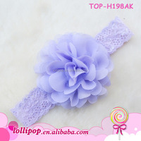 2015 New style infant headband with fabric flower lavender flower headband crown