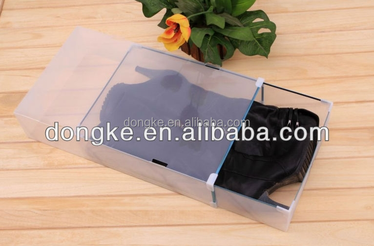 CHINA wholesale fashional foldable plastic shoes box for boots