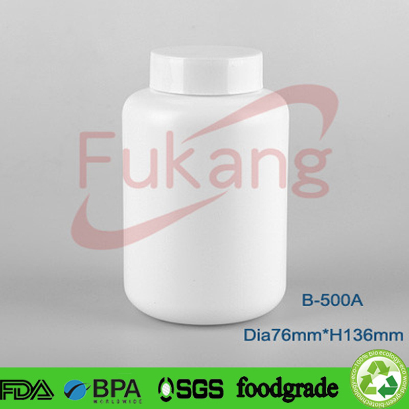 500ml large white HDPE pharmaceutical pill tablet packaging bottles for drug