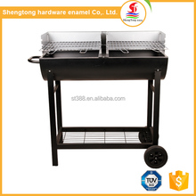 New arrival charcoal grill & smoker grill park trolley barrel standing bbq grill