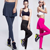 Joggings Wholesale Latex Women's Elastic Sport Quick Dry Skirt+Leggings Yoga Tights Nylon Fitness Tennis Pantskirt Running Pants