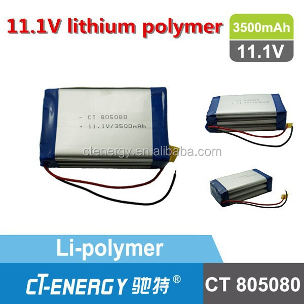 3500mah tablet pc battery/3500 rc lipo battery CT805080 11.1V IEC UN standard lithium polymer battery