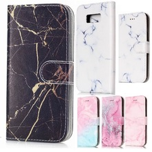 For Samsung S8 Case Wallet ,Marble Pattern PU Leather Magnetic Flip Cover for Galaxy S8