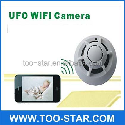 UFO Internet Connection Smoke Detector WIFI P2P Camera Network Smoke detector Wifi hidden camera P2P Network Camera