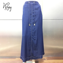 Bandage breathable casual maxi summer wholesale long denim skirts